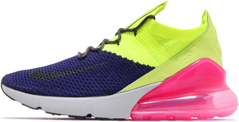 Nike Men s Air Max 270 Flyknit Regency Purple Thunder Grey Volt Nylon Basketball Shoes 12 D M US