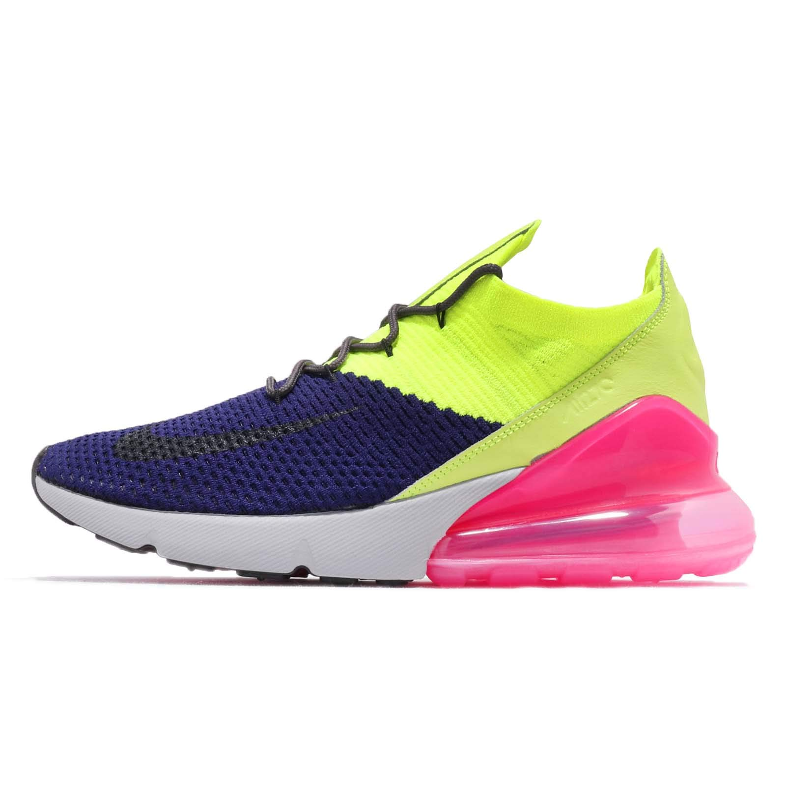 aa29911123842 Nike Men s Air Max 270 Flyknit Regency Purple Thunder Grey Volt Nylon  Basketball Shoes