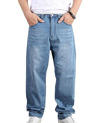 70c24dfe092ce Homme Jean Pantalons Denim Large Baggy Hip Hop#022(Bleu Clair / 30)
