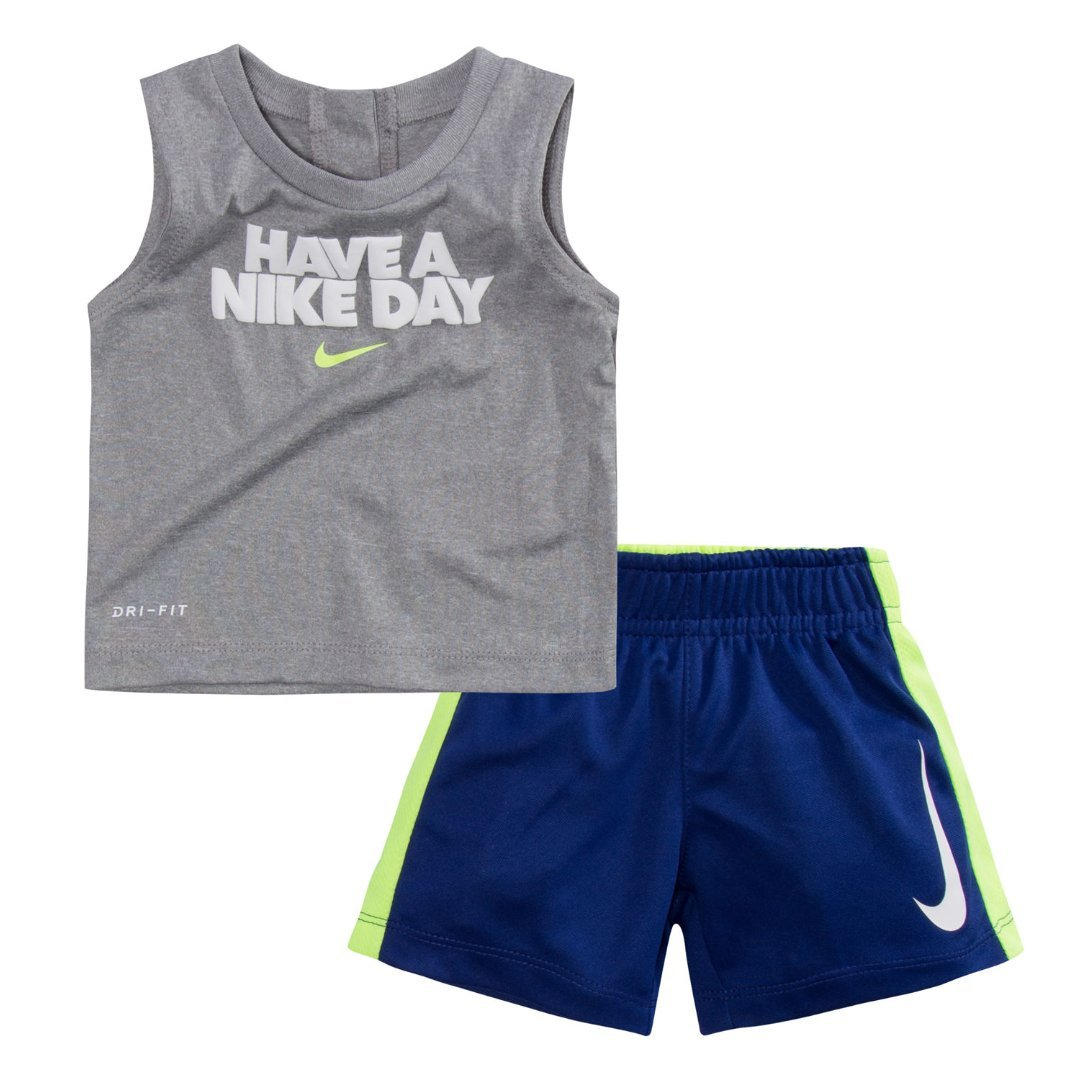 dc5caaef2 76C982-U1A /Volt, 4T Deep Royal Blue Nike Toddler Boys Dri Fit Short Sleeve  T-Shirt and Short 2 Piece Set
