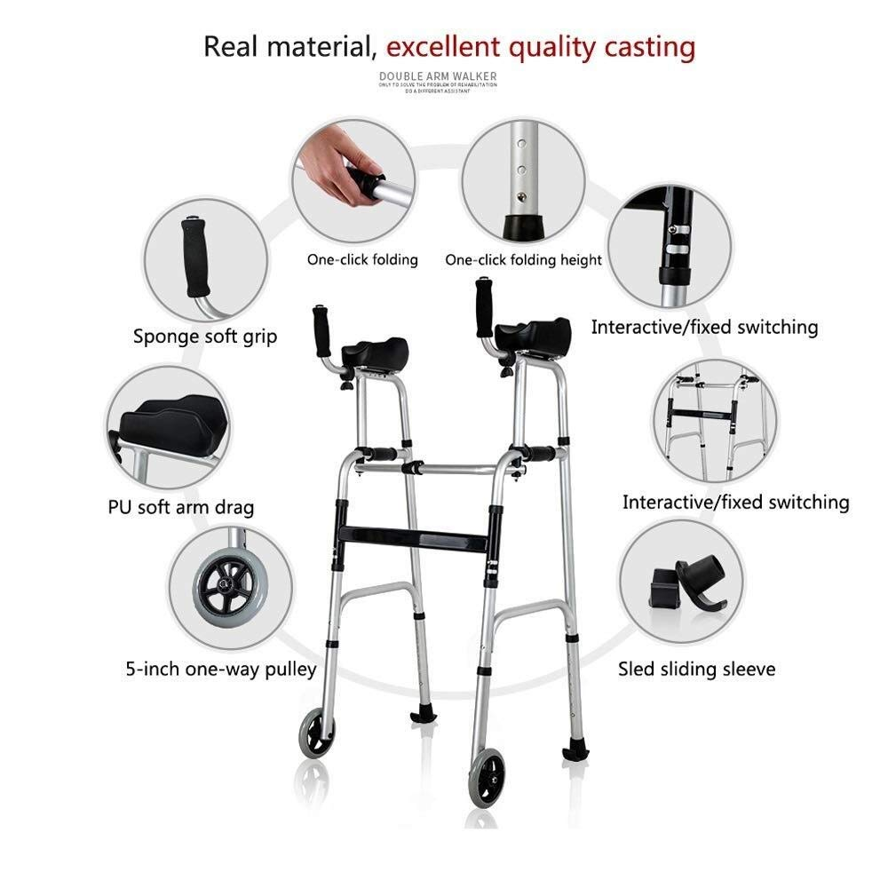 Walking Frame with Wheels Narrow, Portable Bag Lockable Brake Adjustable Height Auxiliary Walking Safety Walker (Color : with Brakes) by YL WALKER (Image #3)