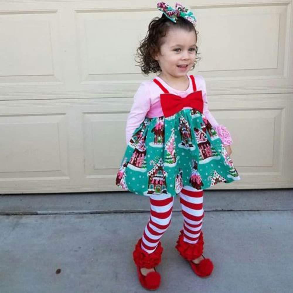 KONFA Toddler Baby Girls Christmas Straps Sleeveless Dress,for 0-4 Years Old,Little Princess Xmas Skirt Clothing Set