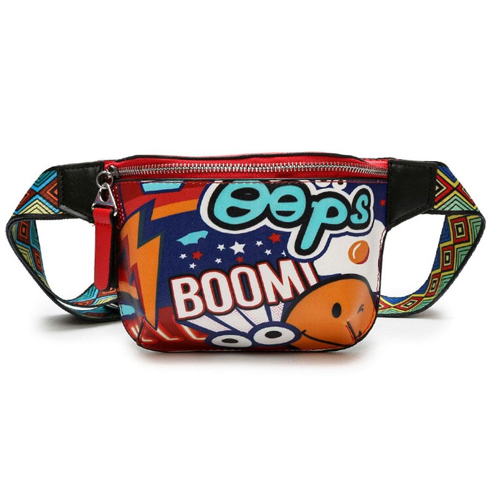 Pawaca Personality Graffiti Printing Waist Pack Messenger Bag - PU Leather Waterproof Fashion Waist Bags for Girls, Women and Men - Adjustable Belt, Travel Money Belt, Cell Phone Bag(multicolor)