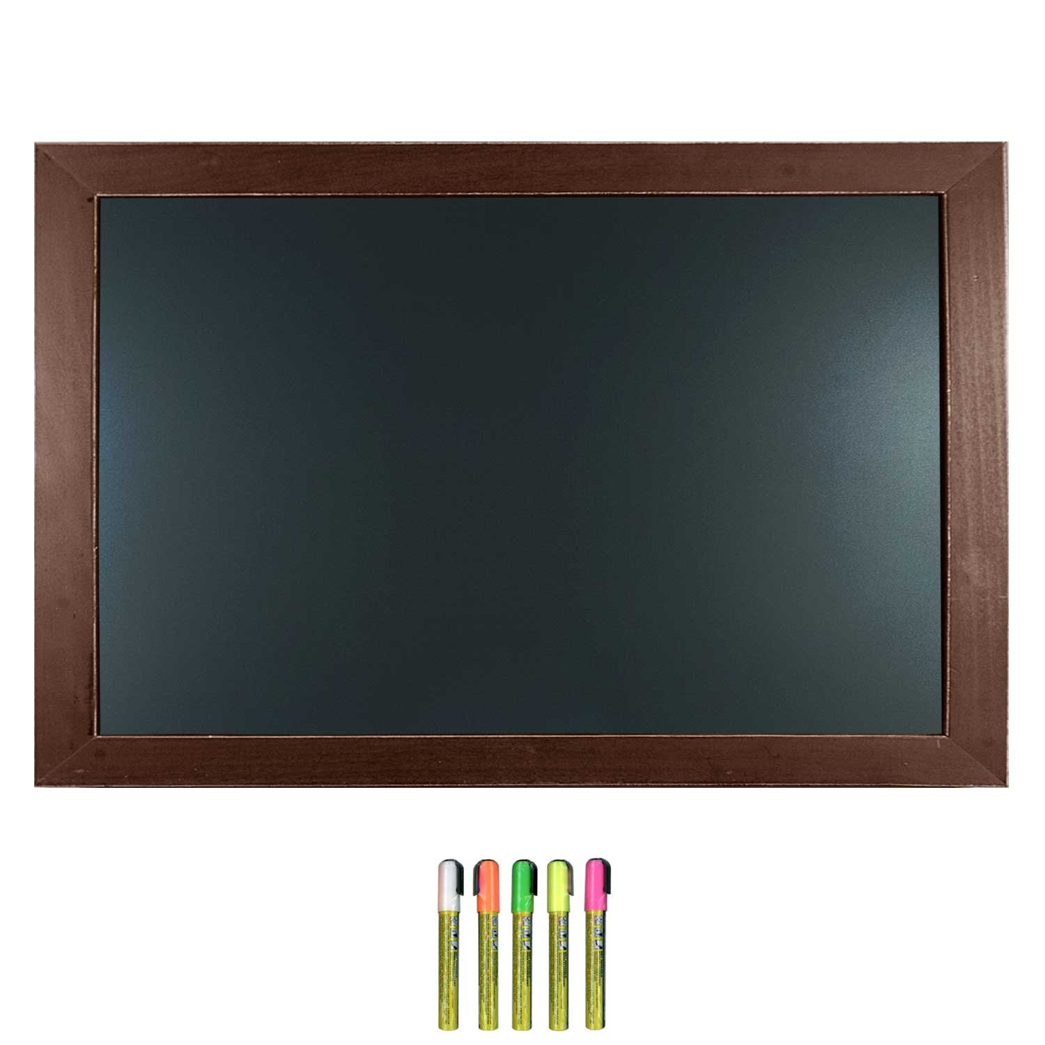 Cohas Framed Chalkboard includes Blackboard in Country Craft Frame and Liquid Chalk Marker, 24 x 36 Inches, Cherry Stained Oak Craft Frame