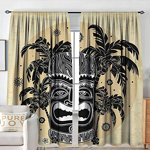 NUOMANAN Window Blackout Curtains Tiki Bar,Hawaii Tiki Mask Figure Palm Trees Ornate Flowers Sunny Summer Party Print,Brown White Yellow,for Room Darkening Panels for Living Room, Bedroom 84