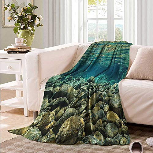 Oncegod Comfort Blanket River Underwater View Pebble Rock Sofa Warm Bed 93