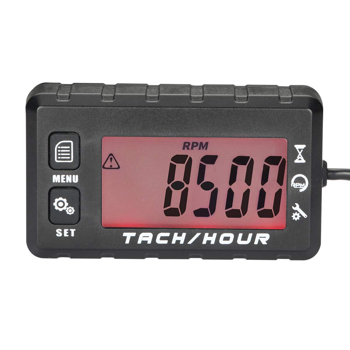 AIMILAR tac/ómetro Digital para Horas de Entrenamiento funci/ón de recuperaci/ón m/áxima de RPM para Motores de 2//4 Tiempos RC Juguetes PWC ATV Motocicletas Marinas Mantenimiento del Motor de Gas