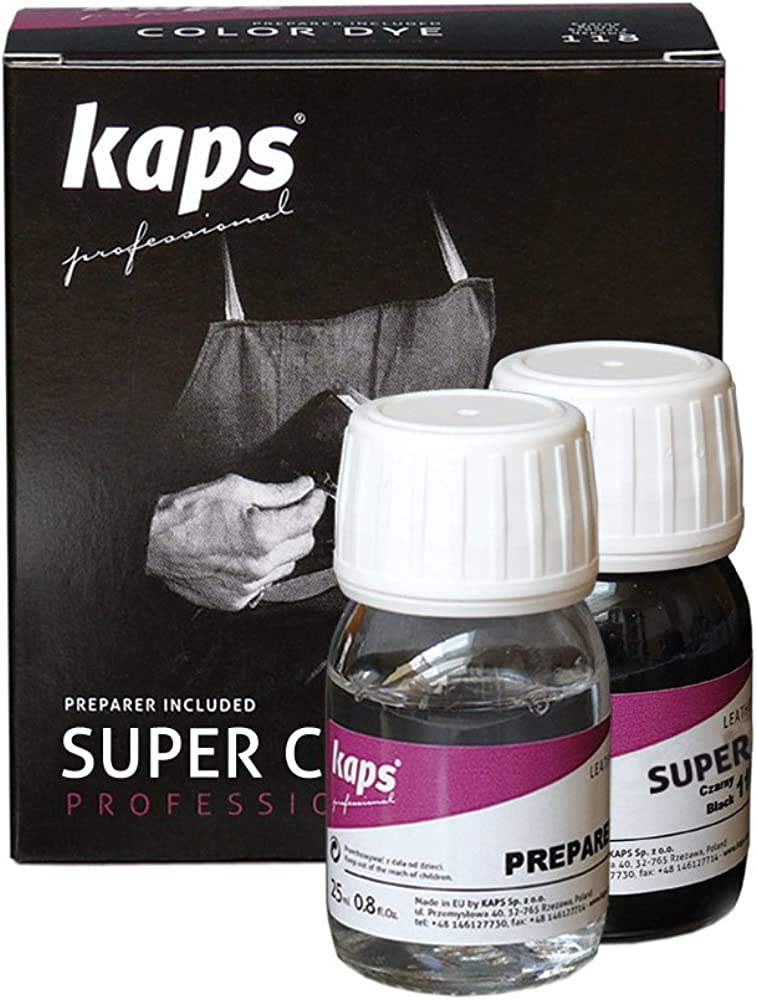 Kaps Tinte con Imprimación para Zapatos y Bolsos Textiles Y de Cuero Natural Y Sintético, Super Color And Preparer, 70 Colores