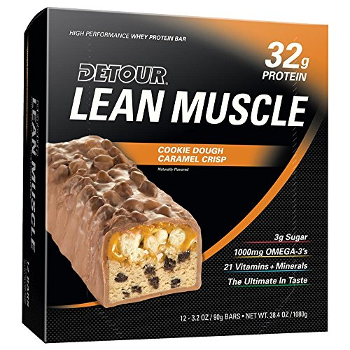 Detour Lean Muscle Nutrition Bars, Cookie Dough Caramel Crisp, 90 Gram (Pack of 12)