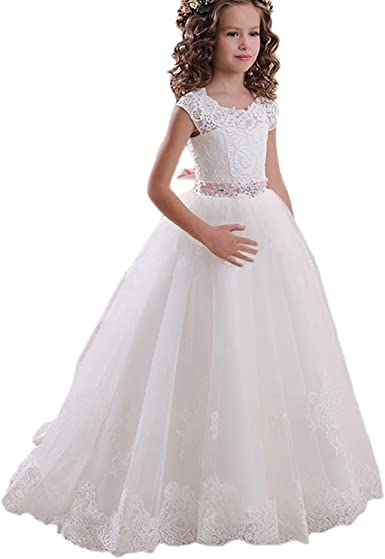 BN Gorgeous Ivory Lace Flower Girls Party Bridesmaid Princess Dress Age 1-10