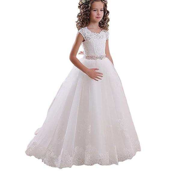 0adc009d54 portsvy a-line Flor Vestidos Niñas Vestido de Princesa Boda Primera  Comunión FB11