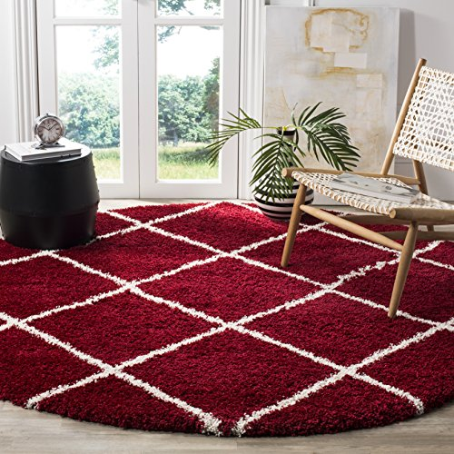 - Safavieh Hudson Shag Collection SGH281R Red and Ivory Moroccan Diamond Trellis Round Area Rug (7' Diameter)