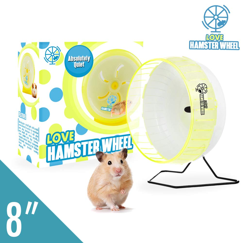 Hamster Wheel 8'' Pet Comfort Treadmill Running Quiet Wheels Large and Easy Attach to Wire Cage for Small Animals Under 3.5 Oz / 100 Grams Weight Syrian Hamsters Rats Guinea Pig Ferret - Premium PP by Love Hamster Wheel