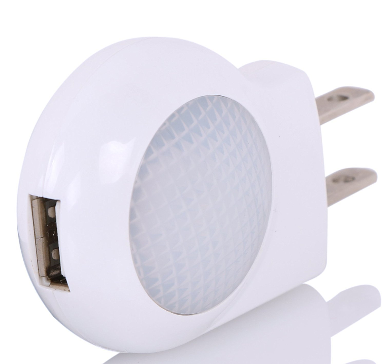 Portable Plug-in 0.7W Travel LED Night Light with USB Wall Charger - 2 Pack of White