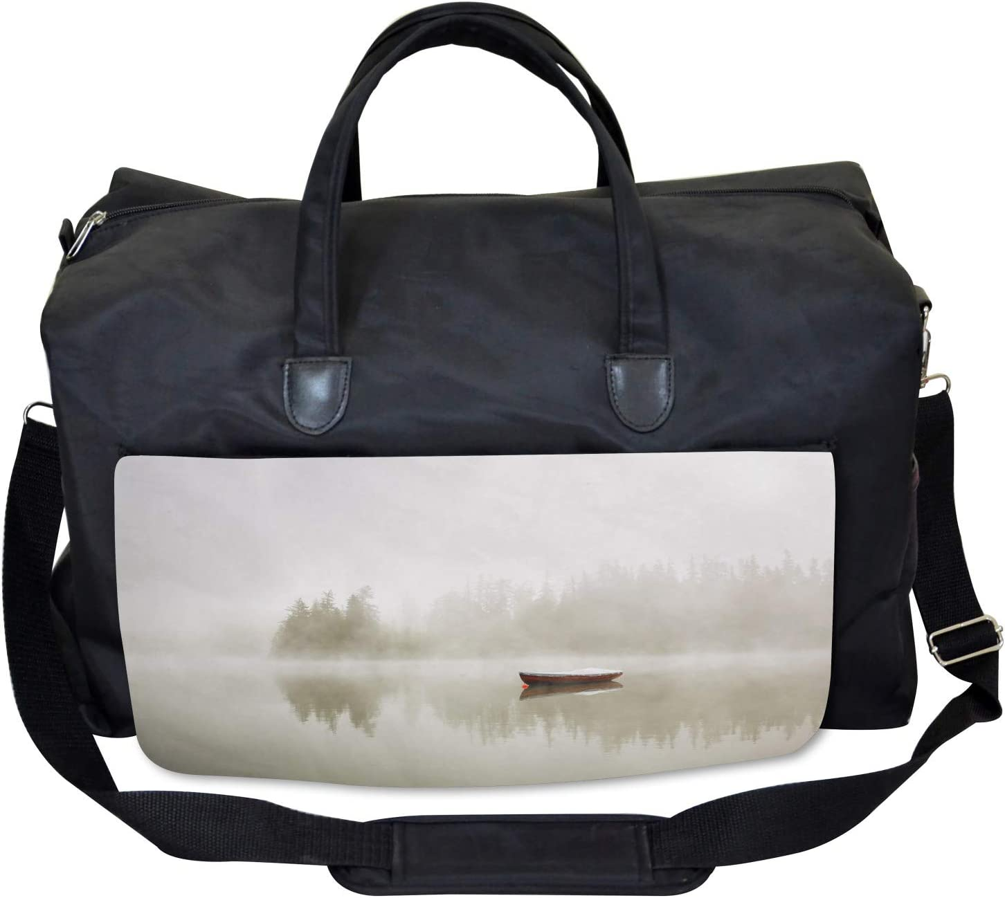 Ambesonne Grey Gym Bag Boat on Lake Nature Large Weekender Carry-on