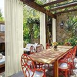 cololeaf Indoor Outdoor Sheer Curtain Patio  Porch  Gazebo  Pergola   Cabana   Dock  Beach Home  Backyard  Country  Garden  Wedding - Tab Top - Ivory 52'' W x 96'' L (1 Panel)
