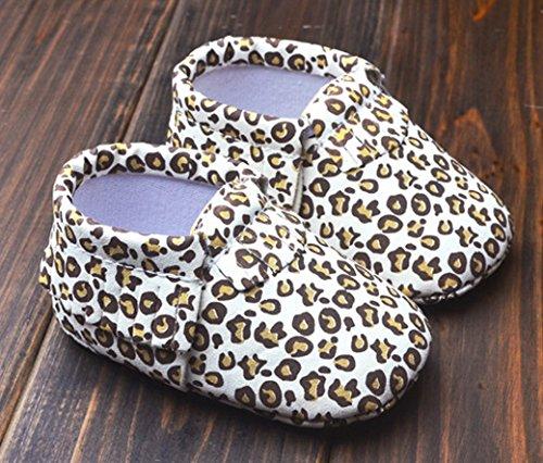 HAPPY CHERRY Suaves Zapatos Primeros Pasos Zapatitos sin Cordones Suela Antideslizante Mocasines para Bebés Niños Niñas 12-18 Meses Color Vino Tinto Leopardo