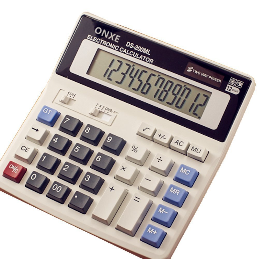 ONETWO Desktop Office 12 Digit Display Standard Function Scientific Electronic Calculator,Calculating Machine For Solar And Battery Powered?Applicable To Student Business Financial Accounting GX-200