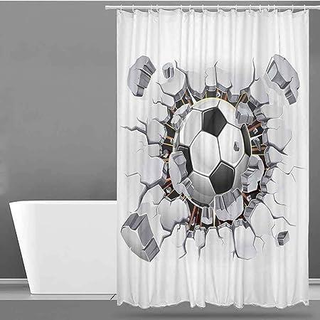 VIVIDX Cortina de Ducha, decoración Deportiva, balón de fútbol y ...