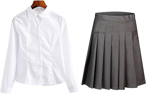 O.AMBW Ropa de Vestir para Niños Pequeños Adolescentes Mujeres Adultas Conjunto Camisa Blanca y Falda Corta Gris Ropa Casual Trabajo Formal Oficina ...