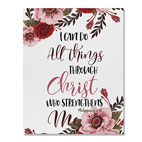 Wayfare Art Christian Bible Verses Philippians 4:13 Canvas Prints Artwork Wall Art Poster for Home Office Living Room Decorations 8 x 10 inch by Wayfare Art