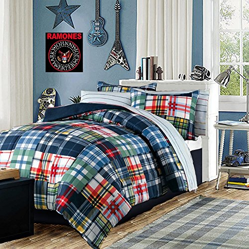 Modern Teen Bedding Boys Comforter Set Blue Red Green Yellow Plaid & Stripes Bed in a Bag Includes Bonus Emergency Pocket Flashlight From Switchback Outdoor Gear (Twin)