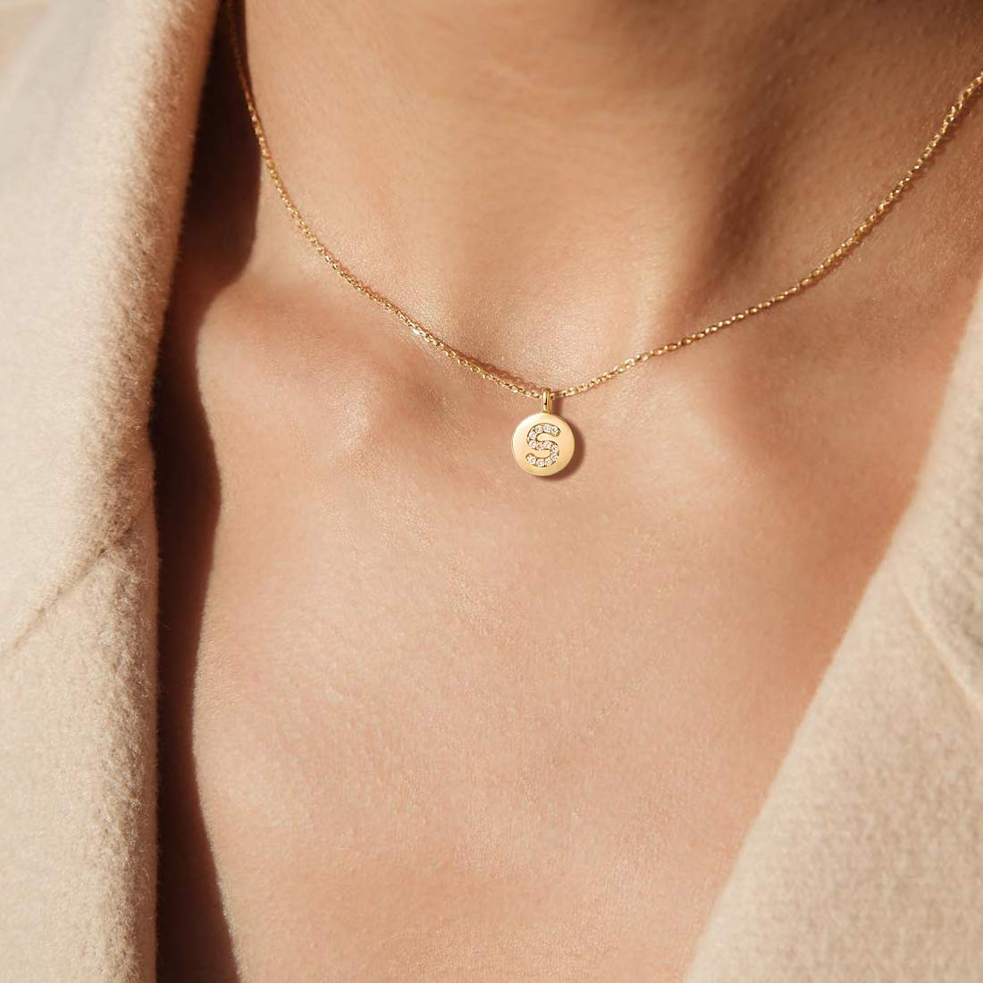 """2 Extender 925 Silver Chain Agvana Gold Plated Sterling Silver Initial Pendant Necklace Round Disc CZ Initial Dainty Letter Necklace Gifts for Women 16/"""""""
