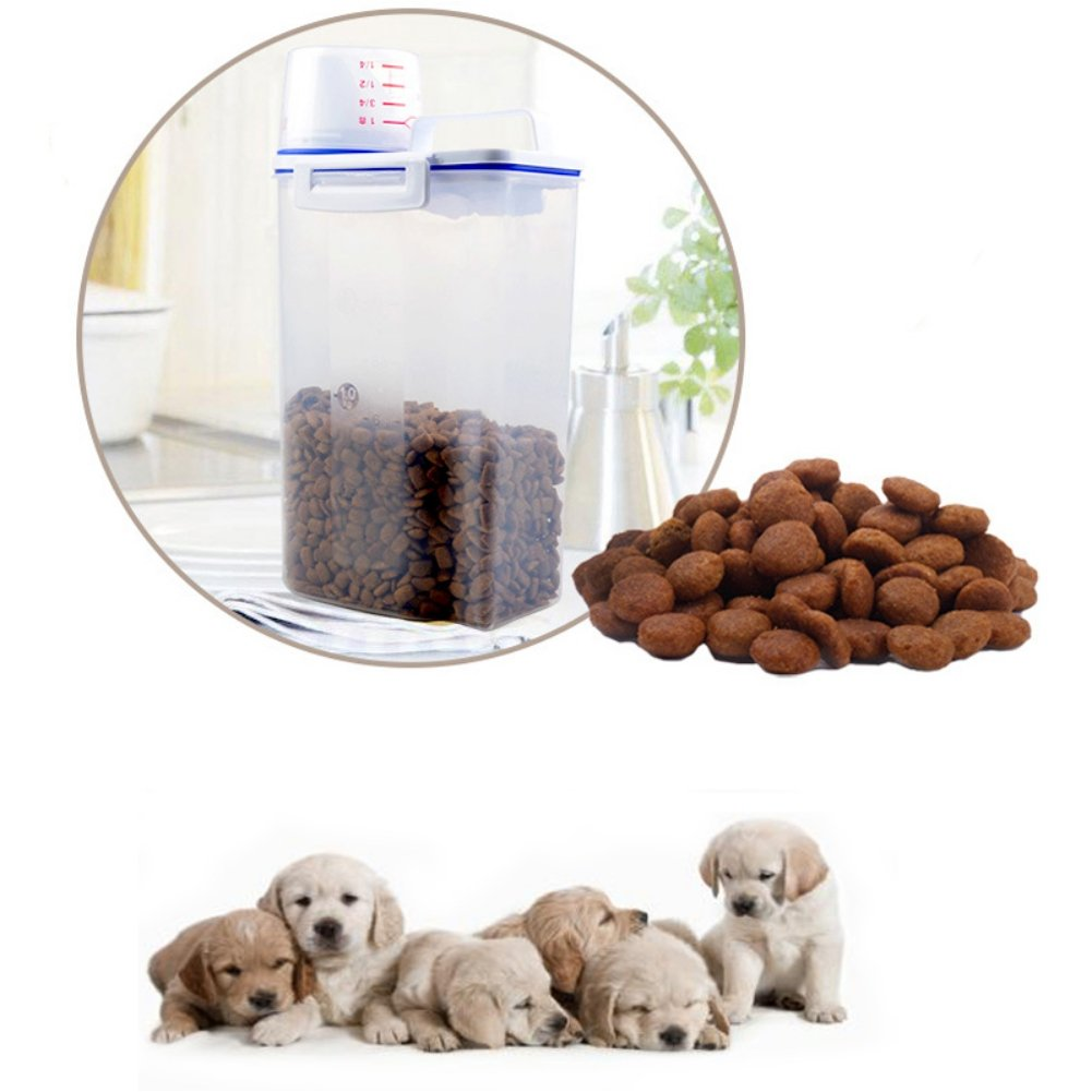 PanDaDa Pet Food Plastic Storage Container for Dry Dog Food with Graduated Cup and Seal Buckles