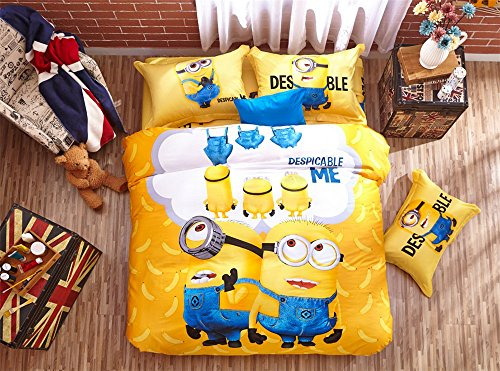 Lotus Karen Despicable Me Minions Cotton Kids Cartoon Bedding Sets,1Duvet Cover,1Flat Sheet,2Pillowcases