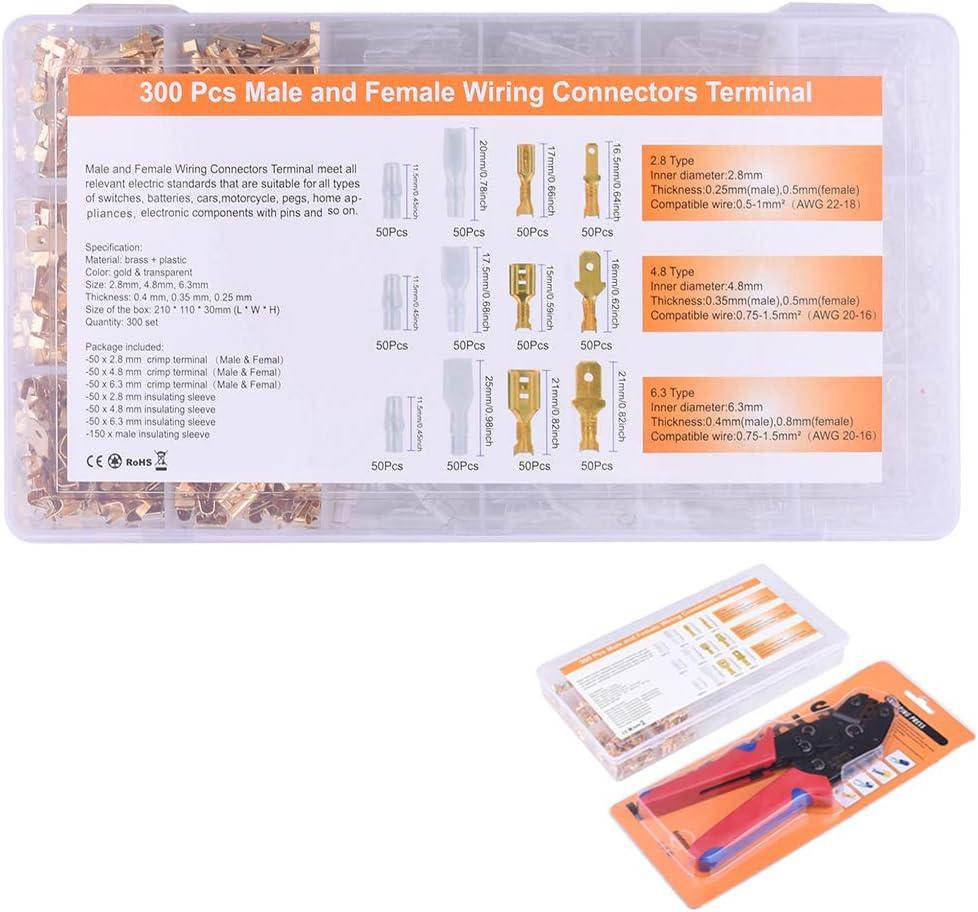 AWG22-16 0.5-1.5 mm/² de Trinquete Ajustable con 300 Macho Hembra Terminales y 300 Fundas Aislantes AUKUYEE Crimpadora Terminales Electricos