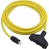 Prime EC600825 Extra Heavy Duty 25-Foot Outdoor Generator Extension Cord 3-Conductor Triple Tap