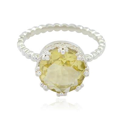 nuovo di zecca 3e2fb 54cb4 anelli di quarzo citrino sfaccettato rotondo con pietra preziosa naturale -  anello in argento 925 con quarzo giallo citrino di quarzo naturale - ora ...