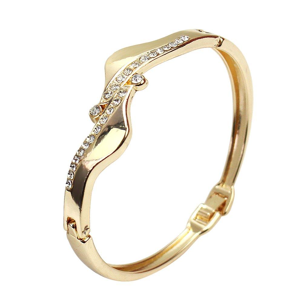 ReFaXi Fashion Golden Crystal Rhinestone Wave Bracelet Alloy Metal Gift Cuff Bangle Women Girl jw02792-ca
