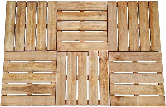 UnfadeMemory Baldosas de Terraza Exterior de Madera FSC para Porche Patio Jardín Terraza Balcón Piscina,Cada Uno 50x50cm (6uds, Marrón): Amazon.es: Hogar