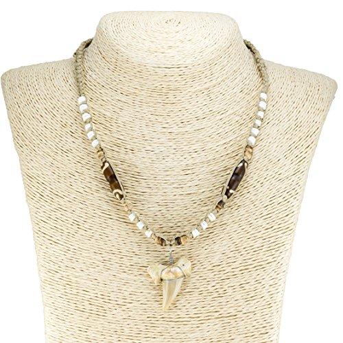 BlueRica Shark Tooth Pendant on Hemp Macrame Choker Necklace with Puka Shell Beads (2S) ()
