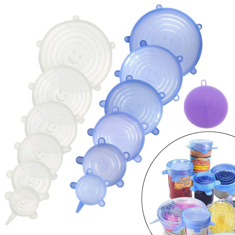 Food Grade Easy to Clean Reusable Silicone Stretch Lids (12, Transparent and Blue) by WDWYW (Image #3)