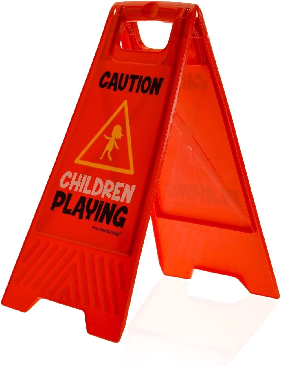 Children Playing Double-Sided, Red Children Playing Yard and Driveway Caution Sign - Caution