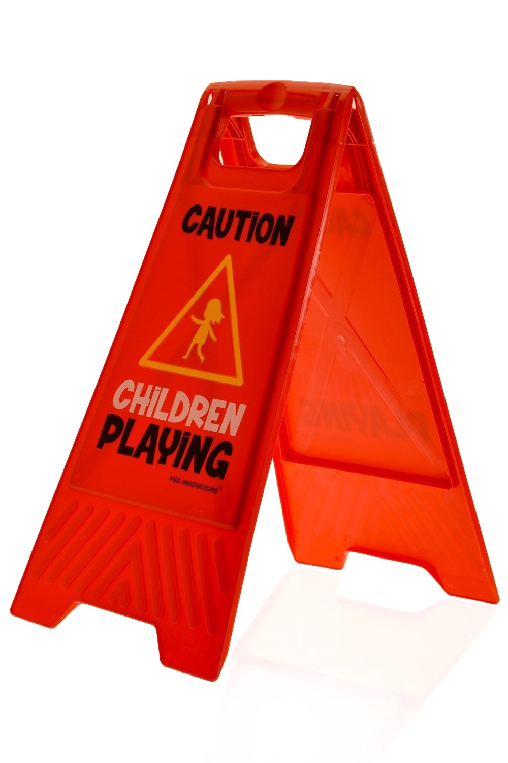 Kids Playing Safety Floor Sign for Yards and Driveways (Double-Sided, Red) - Caution, Slow, Kids at Play Red) - Caution Kids at Play Essentially Yours RED-V1