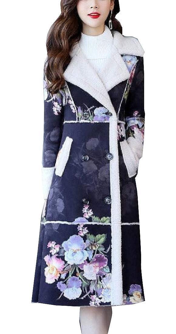 3 WSPLYSPJY Women's Winter Print Shearling Coat Faux Sheepskin Suede Outwear Jacket