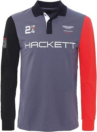 Hackett Camisa de Polo de Manga Larga de Aston Martin Racing Gris ...