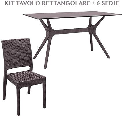 Sedie Da Esterno In Plastica.Tavolo Rettandolare Con 6 Sedie Da Giardino Effetto Rattan In