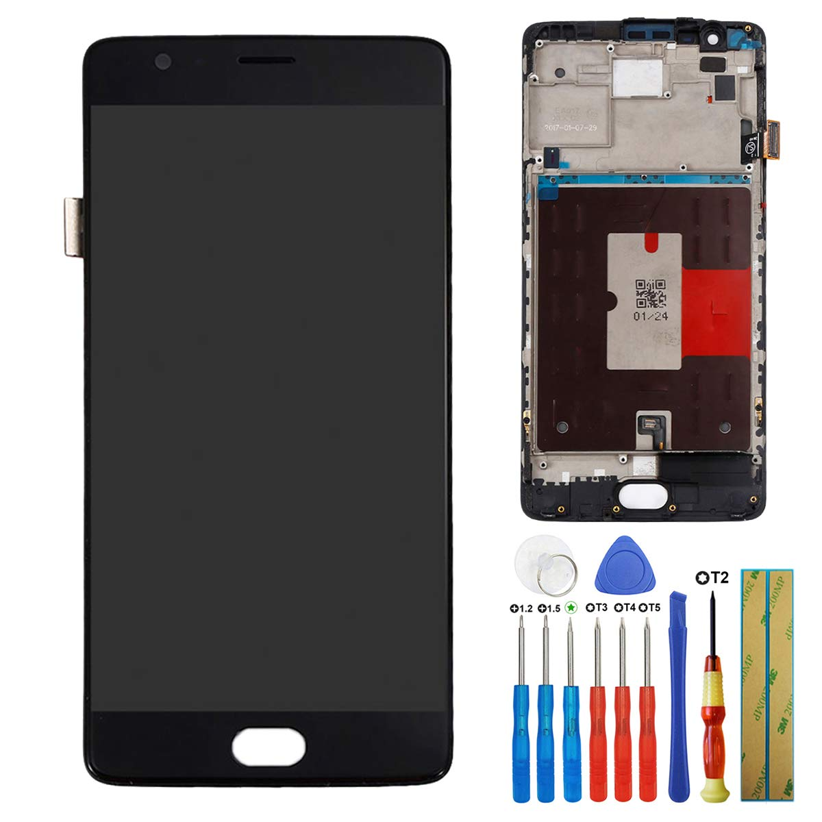 for OnePlus 3 3T A+++ Amoled Touch Screen Display Assembly 5.5'' Glass LCD Black Replacement PartsWith Frame + Tools