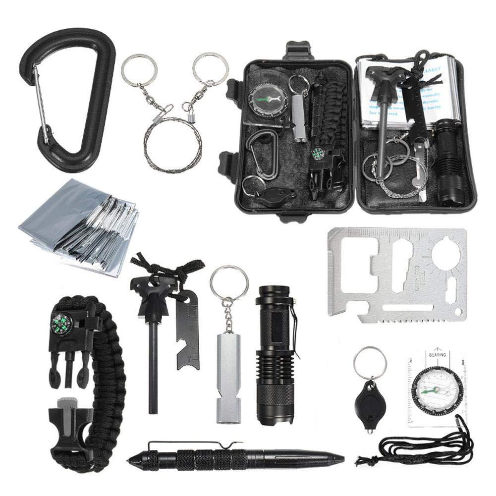 IBaste-Survival-Kits 10 in, Survival Kit Erste Hilfe Set Werkzeugkasten SOS Outdoor Überlebens-Kit-Outdoor Survival Gear Kit für Reisen Wandern Biken Klettern Jagd