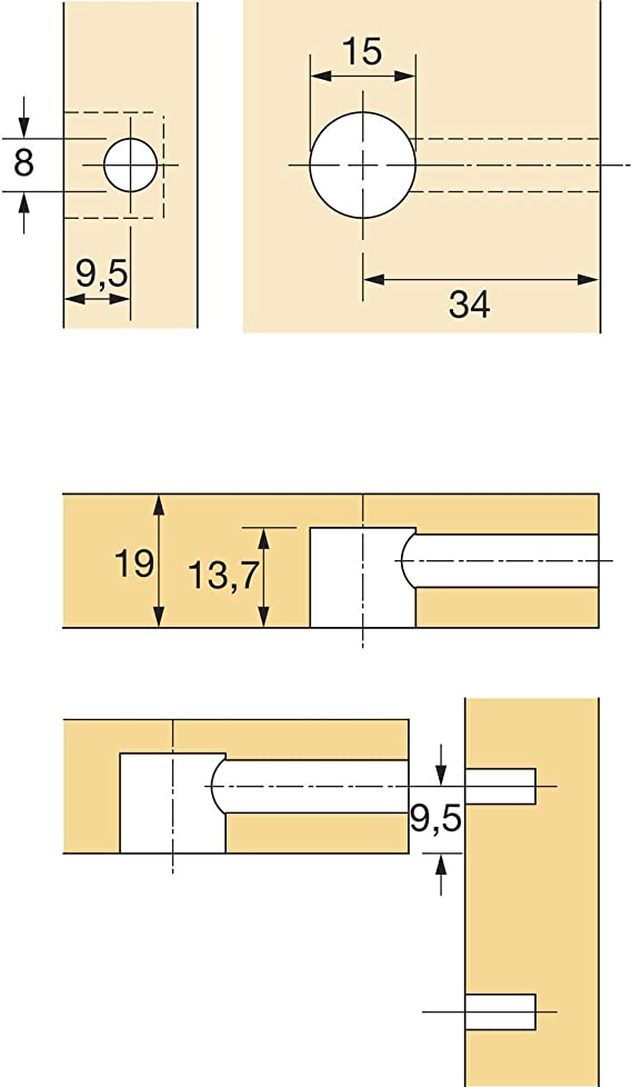 50x Hettich Exzenter Möbelverbinder Rastex ohne Abdeckrand Zinkguss vernickelt