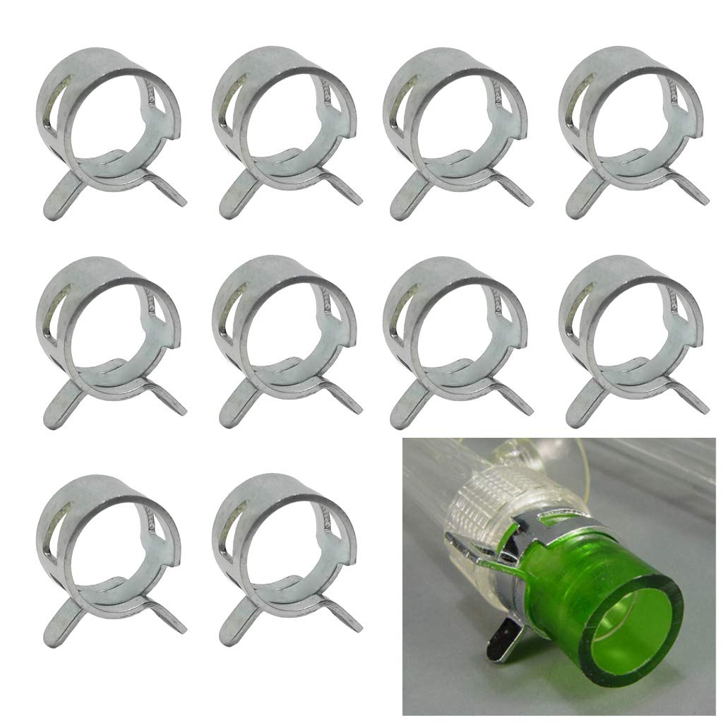 """GKanMore Hose Clips Clamps for 10mm (3/8"""") OD Soft Tubing Pipe Hose Clamp for PC Water Cooling System, Pack of 10"""