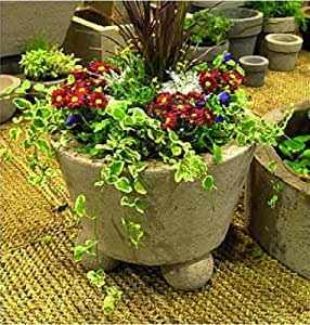 cone stone planter on 3 ball feet 22 diameter by 12 inch height brown stone. Black Bedroom Furniture Sets. Home Design Ideas
