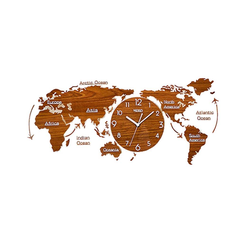 世界の壁時計クリエイティブ装飾サイレントレトロ黒と白のアクリル&リビングルーム/ベッドルーム/ホテル/バー (色 : Brown-55*120CM) B07F5QF82N Brown-55*120CM Brown-55*120CM