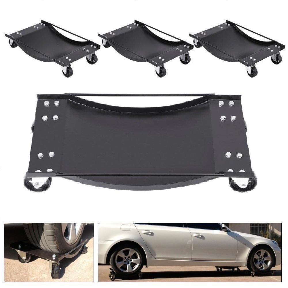 4 pcs Black 3'' Tire Skates Wheel Car Dolly Ball Bearings Vehicle Car Auto Repair Moving Diamond