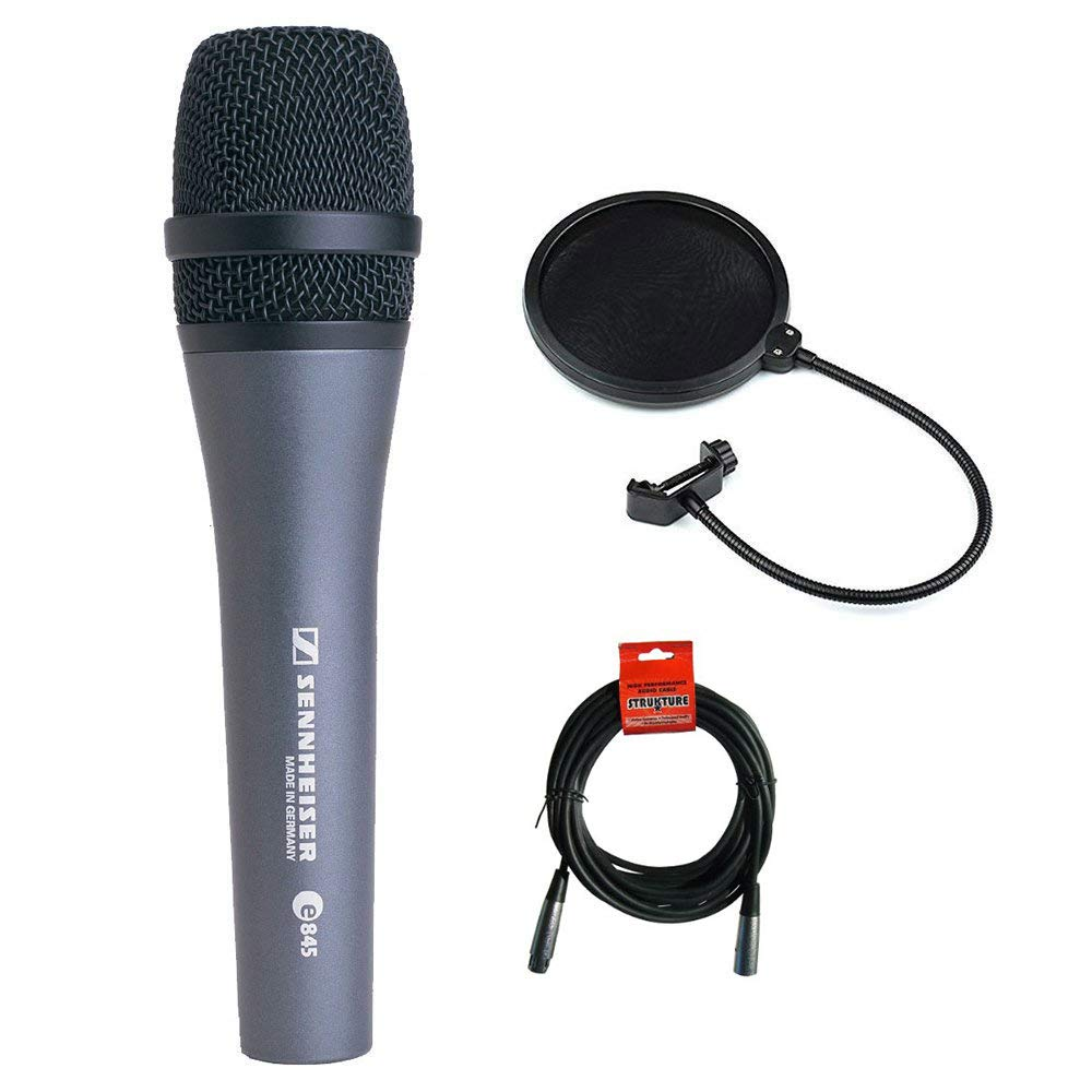 Sennheiser E845 Super Cardioid Handheld Dynamic Microphone with XLR-XLR Cable and Pop filter by Sennheiser