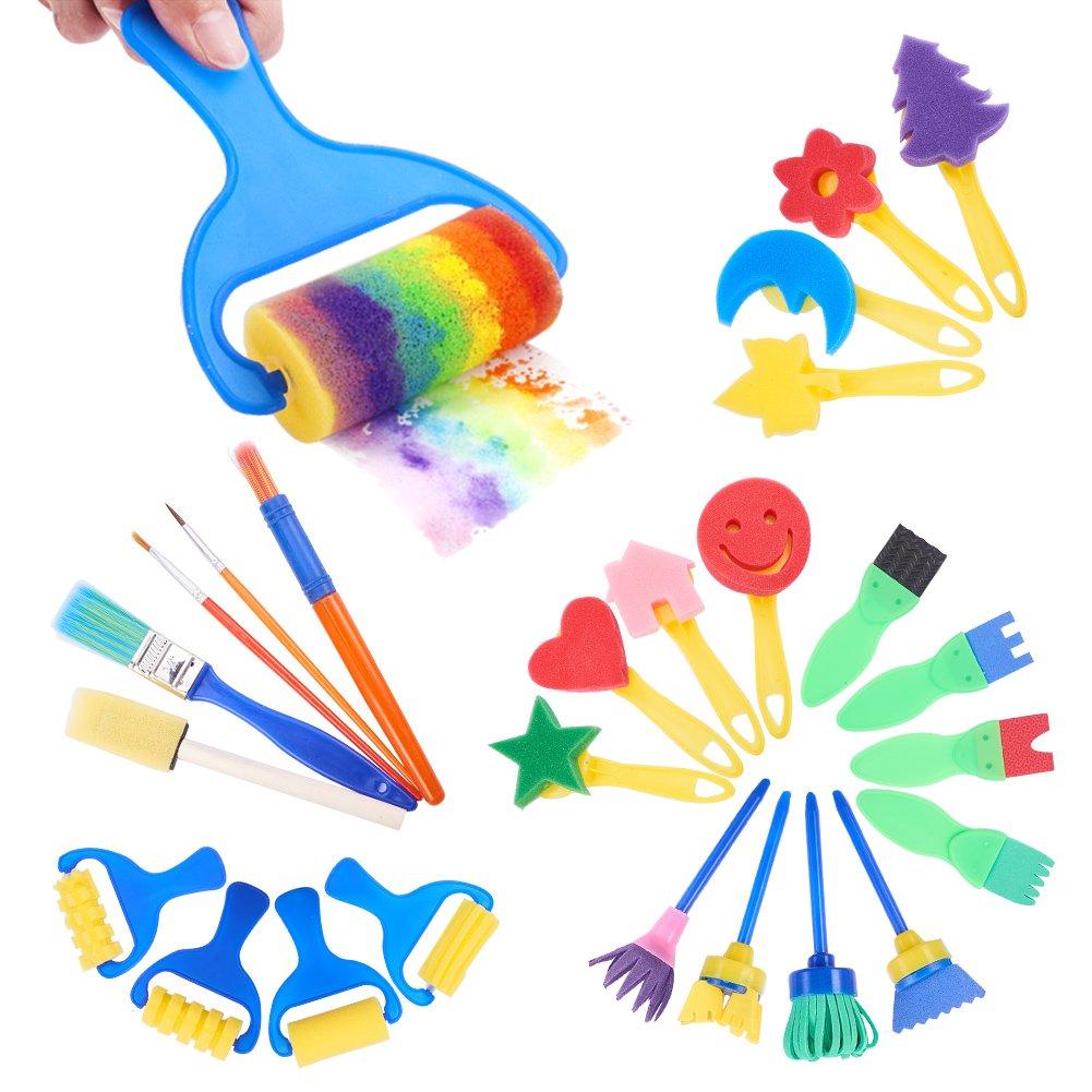 rifornimenti di Arte 25pcs//Set PandaHall Elite Fai da Te Graffi Spugna spazzole Seal Strumenti di Pittura Set Creativo Divertente Disegno Giocattolo per Bambini Colore Misto